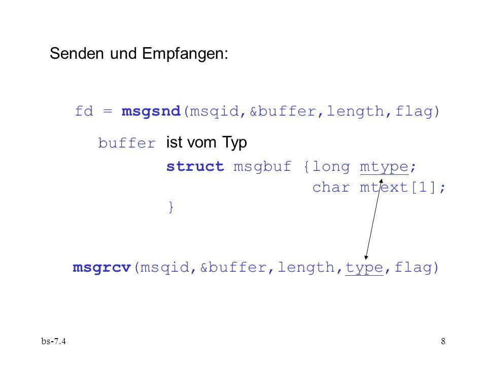bs-7.48 Senden und Empfangen: fd = msgsnd(msqid,&buffer,length,flag) buffer ist vom Typ struct msgbuf {long mtype; char mtext[1]; } msgrcv(msqid,&buffer,length,type,flag)