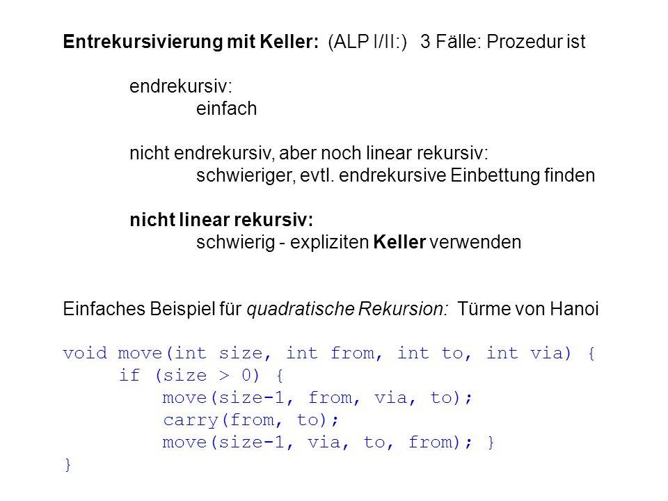 Auswertung/Übersetzung von Ausdrücken: einfach bei Postfix-Notation, weil Syntaxanalyse trivial: Zwischenergebnisse kellern schwieriger bei Infix-Notation, weil Syntaxanalyse nicht trivial: Operanden-Keller und Operatoren-Keller verwenden, dabei Operator-Vorrang berücksichtigen