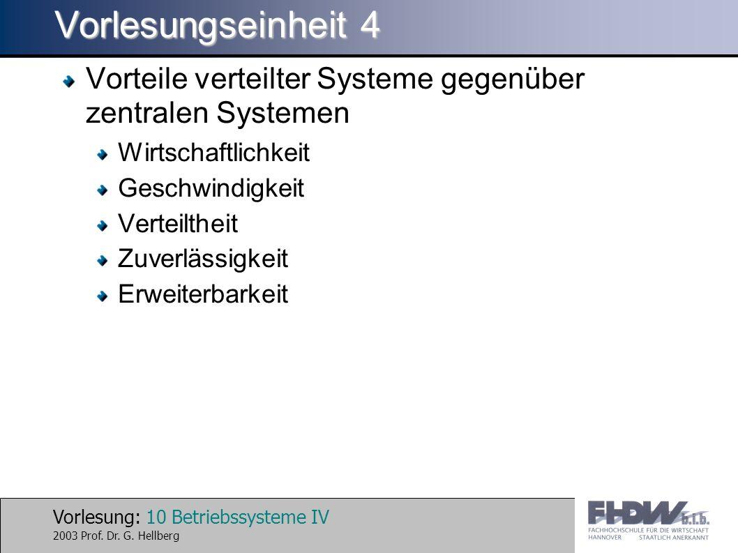 Vorlesung: 10 Betriebssysteme IV 2003 Prof. Dr. G.