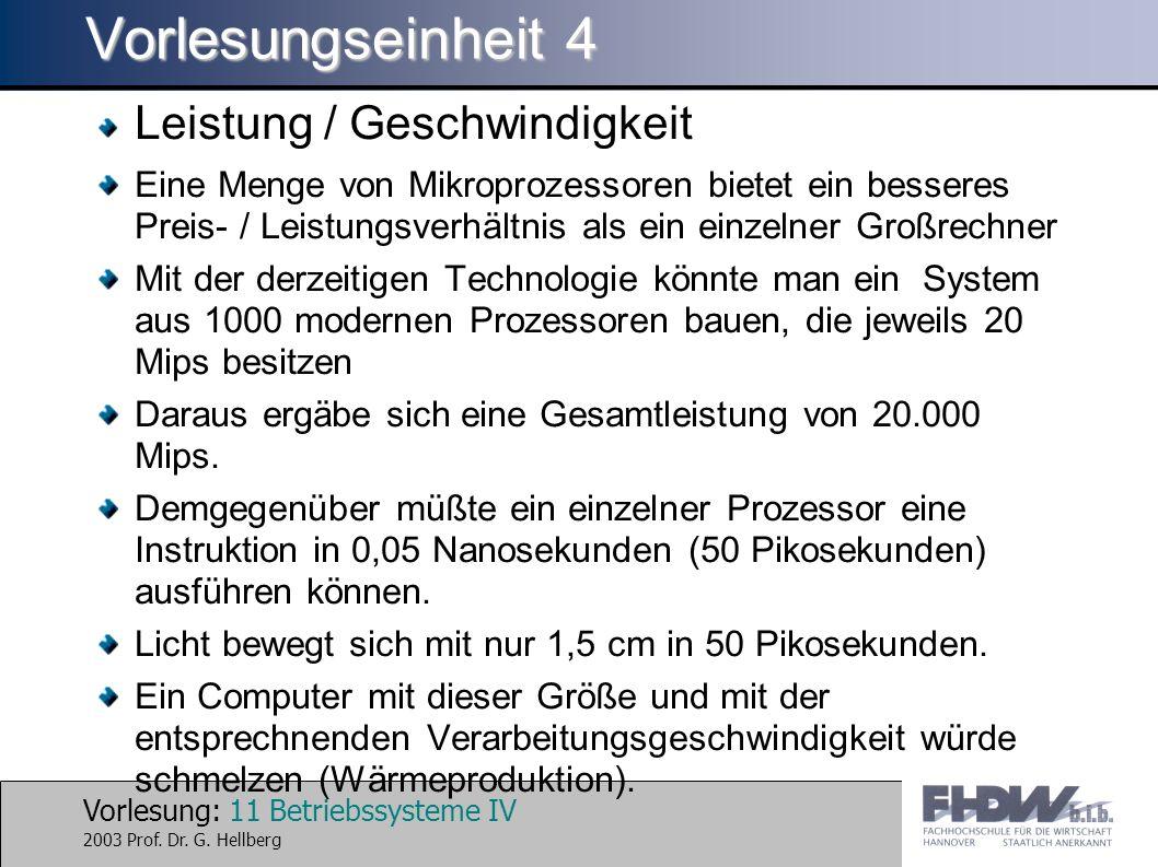 Vorlesung: 11 Betriebssysteme IV 2003 Prof. Dr. G.