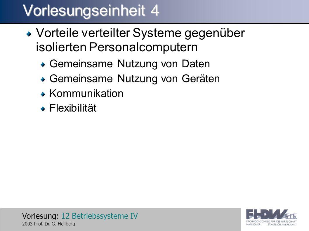 Vorlesung: 12 Betriebssysteme IV 2003 Prof. Dr. G.