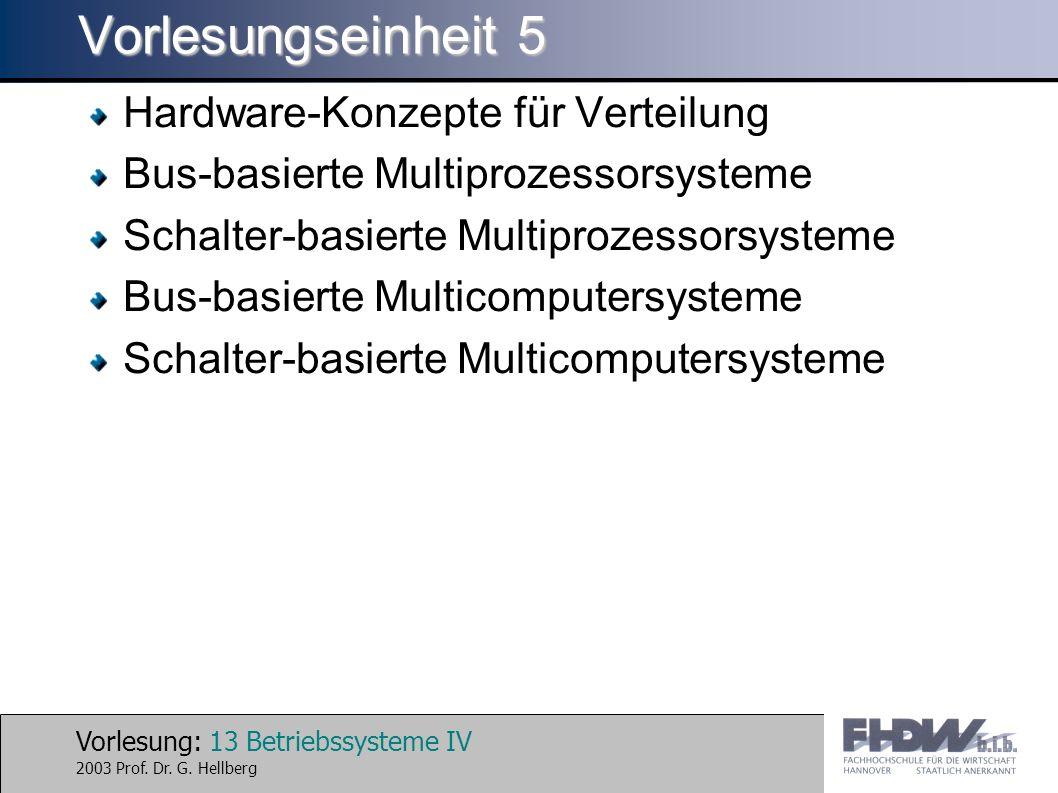 Vorlesung: 13 Betriebssysteme IV 2003 Prof. Dr. G.