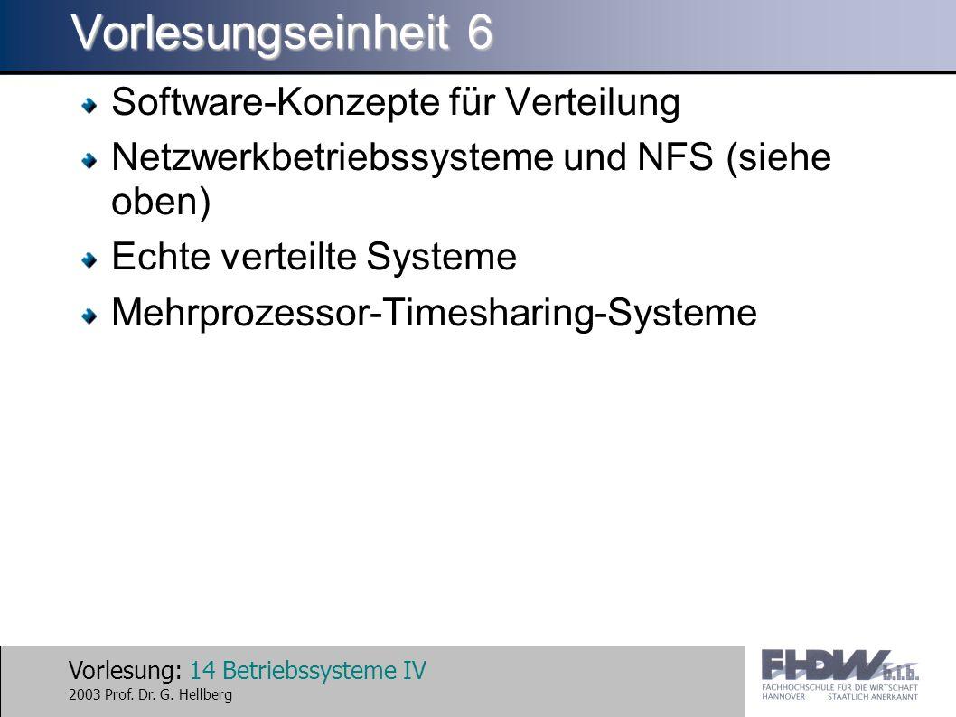 Vorlesung: 14 Betriebssysteme IV 2003 Prof. Dr. G.