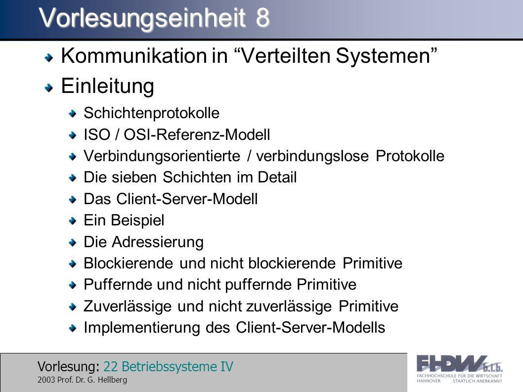 Vorlesung: 22 Betriebssysteme IV 2003 Prof. Dr. G.