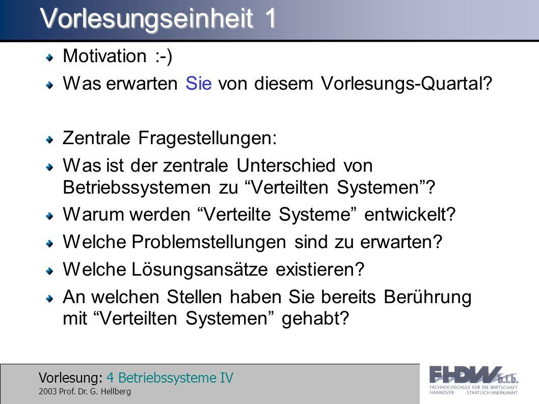 Vorlesung: 15 Betriebssysteme IV 2003 Prof.Dr. G.