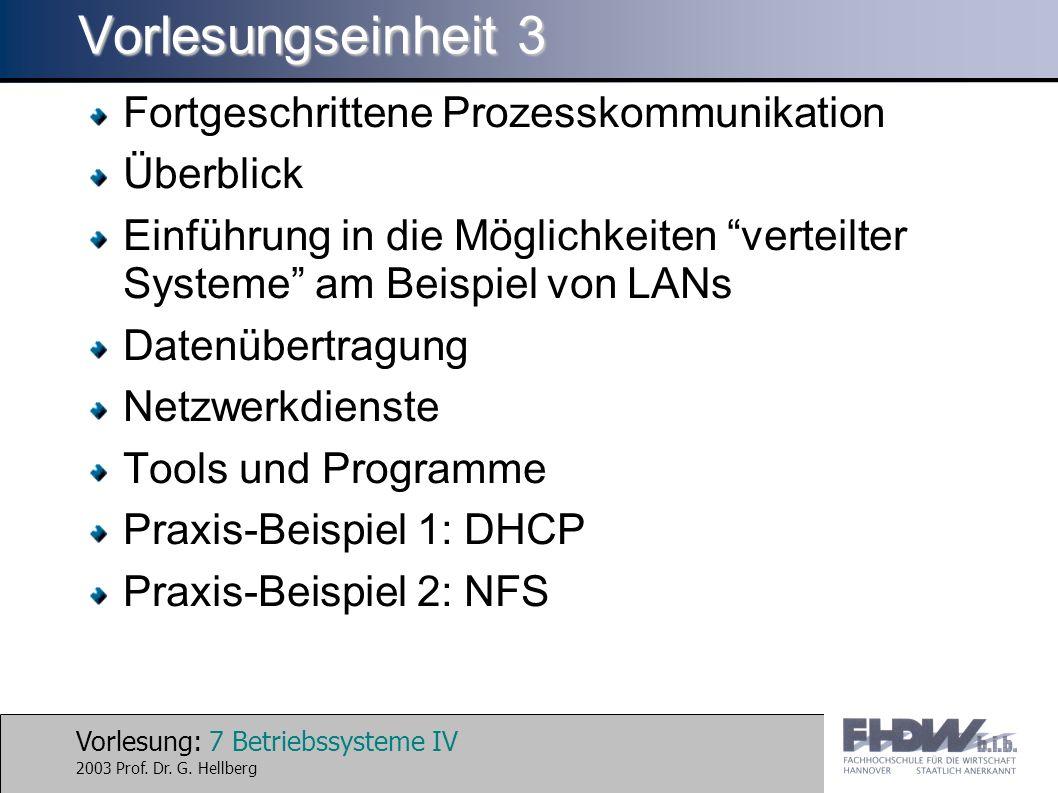 Vorlesung: 7 Betriebssysteme IV 2003 Prof. Dr. G.