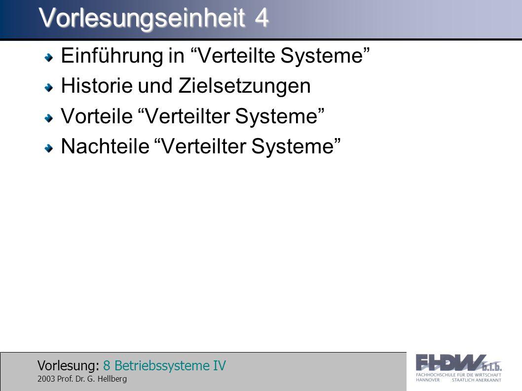 Vorlesung: 8 Betriebssysteme IV 2003 Prof. Dr. G.