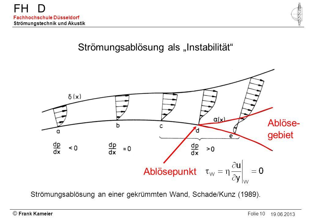 © Frank Kameier Folie 10 - 19.03.2010 FHD Fachhochschule Düsseldorf Strömungstechnik und Akustik 19.06.2013 Strömungsablösung als Instabilität Ablöse-