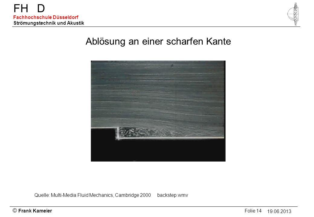 © Frank Kameier Folie 14 - 19.03.2010 FHD Fachhochschule Düsseldorf Strömungstechnik und Akustik 19.06.2013 Ablösung an einer scharfen Kante Quelle: M