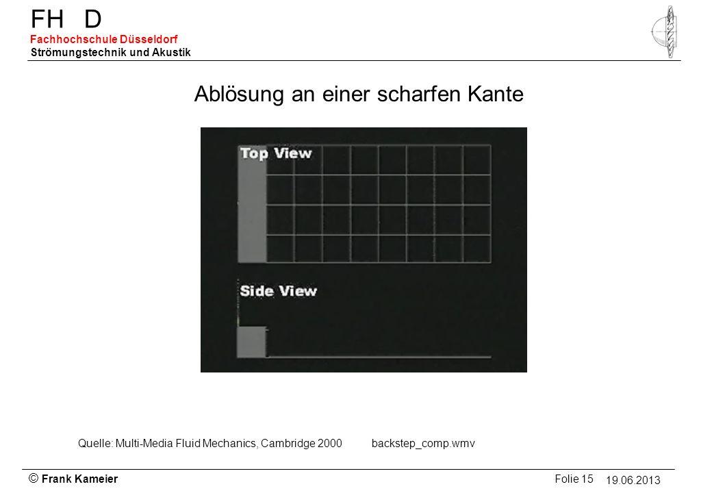 © Frank Kameier Folie 15 - 19.03.2010 FHD Fachhochschule Düsseldorf Strömungstechnik und Akustik 19.06.2013 Ablösung an einer scharfen Kante Quelle: M