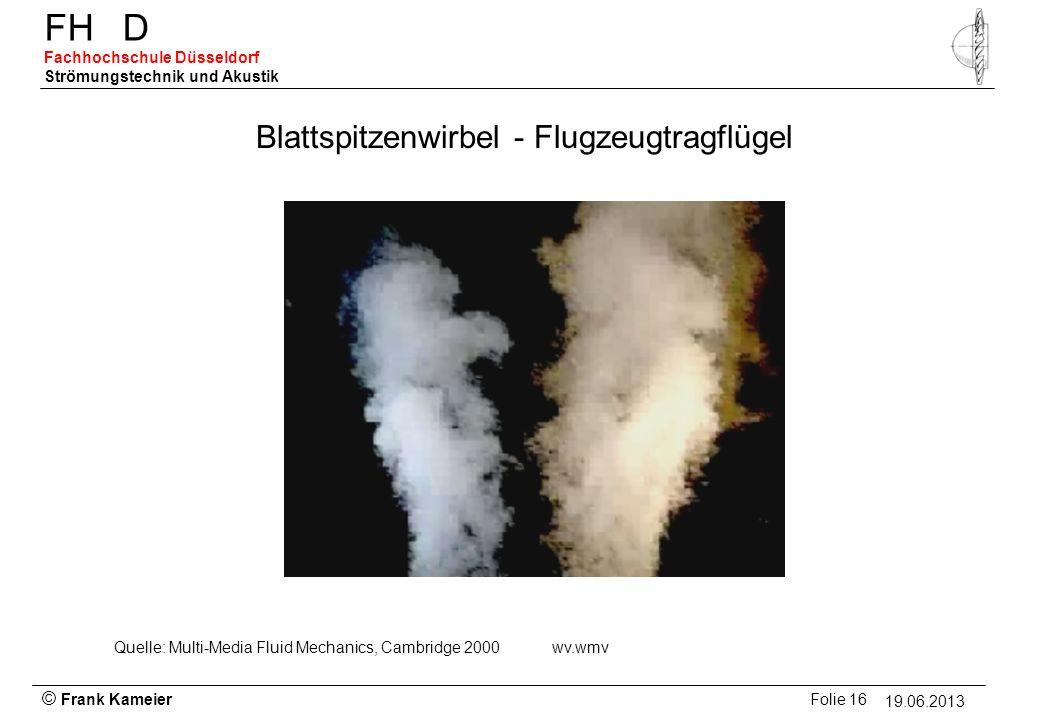 © Frank Kameier Folie 16 - 19.03.2010 FHD Fachhochschule Düsseldorf Strömungstechnik und Akustik 19.06.2013 Blattspitzenwirbel - Flugzeugtragflügel Qu