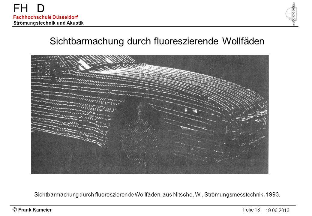 © Frank Kameier Folie 18 - 19.03.2010 FHD Fachhochschule Düsseldorf Strömungstechnik und Akustik 19.06.2013 Sichtbarmachung durch fluoreszierende Woll