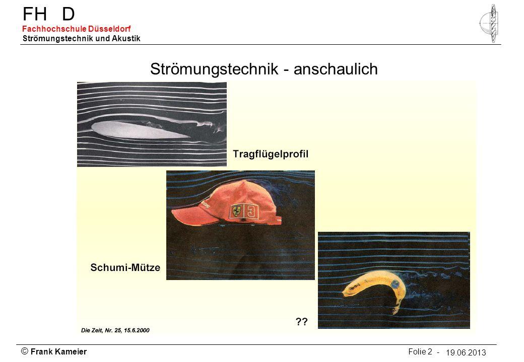 © Frank Kameier Folie 3 - 19.03.2010 FHD Fachhochschule Düsseldorf Strömungstechnik und Akustik 19.06.2013 Stromlinien – Bahnlinien - Streichlinien Eulersche Darstellung (ortsbezogen) Lagrangsche Darstellung (teilchenbezogen)