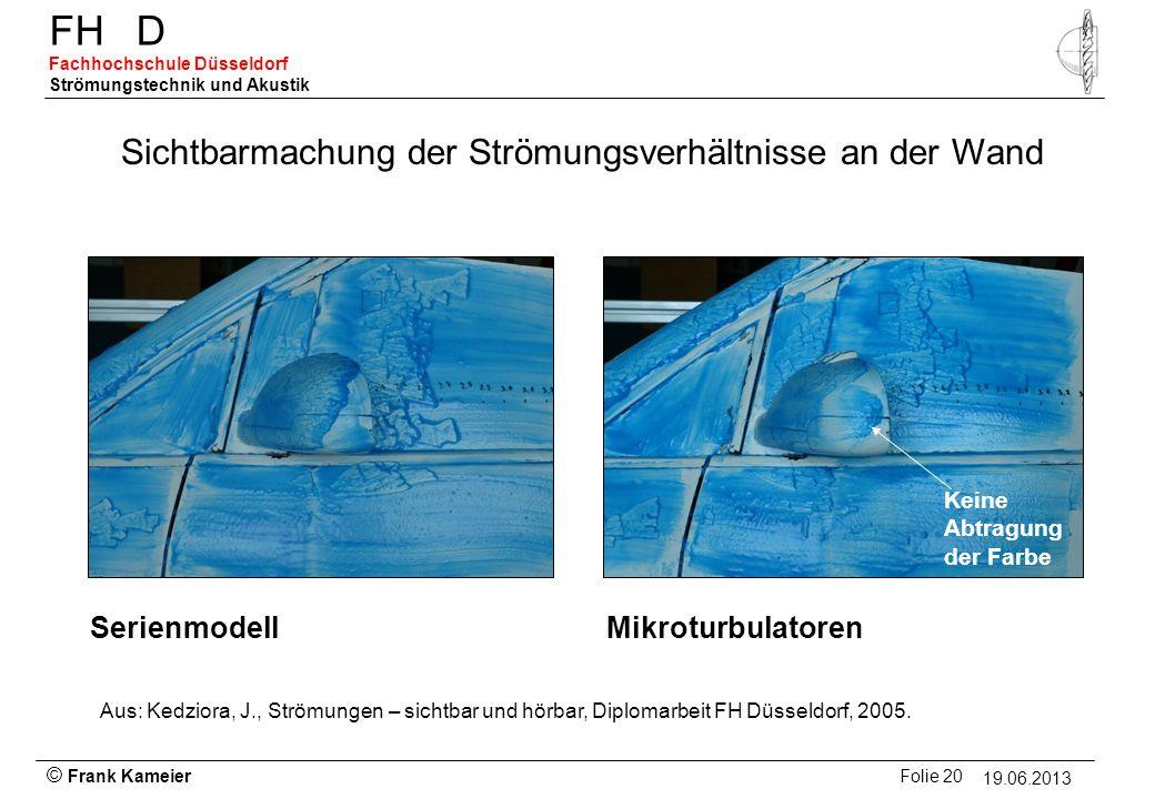 © Frank Kameier Folie 20 - 19.03.2010 FHD Fachhochschule Düsseldorf Strömungstechnik und Akustik 19.06.2013 Sichtbarmachung der Strömungsverhältnisse