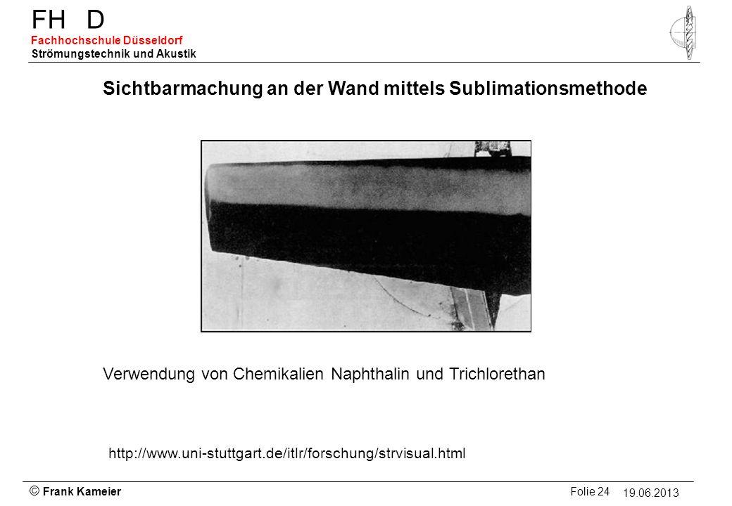 © Frank Kameier Folie 24 - 19.03.2010 FHD Fachhochschule Düsseldorf Strömungstechnik und Akustik 19.06.2013 Sichtbarmachung an der Wand mittels Sublim