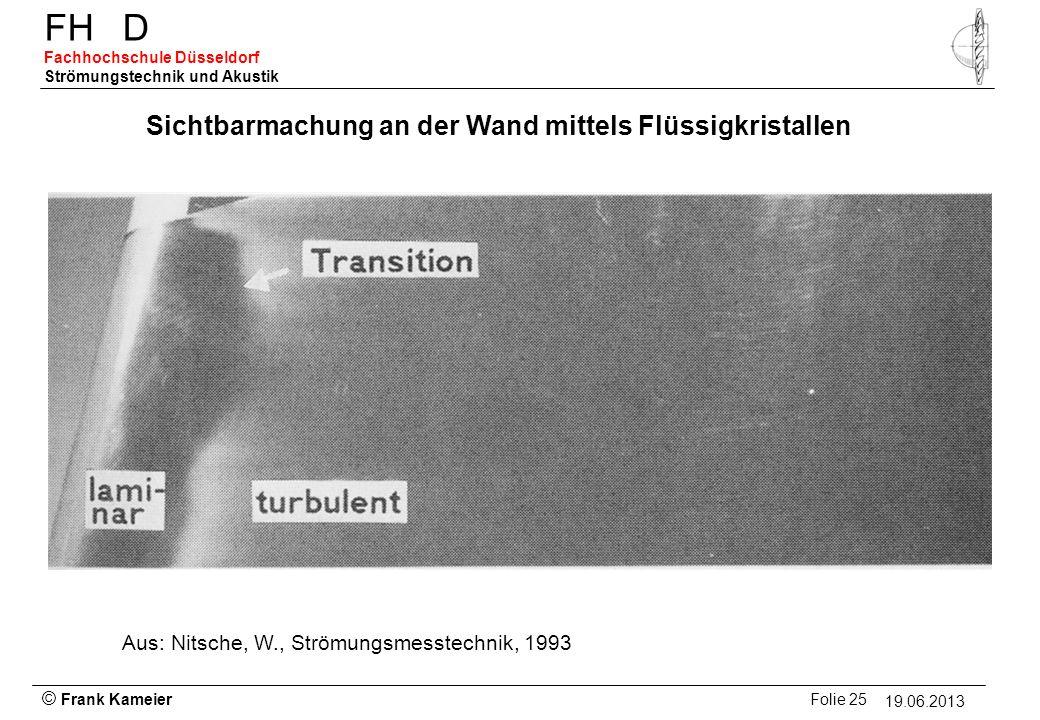 © Frank Kameier Folie 25 - 19.03.2010 FHD Fachhochschule Düsseldorf Strömungstechnik und Akustik 19.06.2013 Sichtbarmachung an der Wand mittels Flüssi