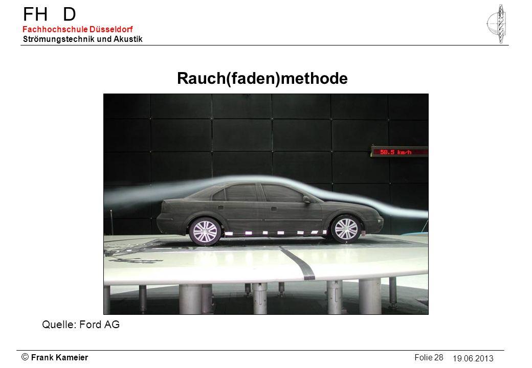 © Frank Kameier Folie 28 - 19.03.2010 FHD Fachhochschule Düsseldorf Strömungstechnik und Akustik 19.06.2013 Rauch(faden)methode Quelle: Ford AG