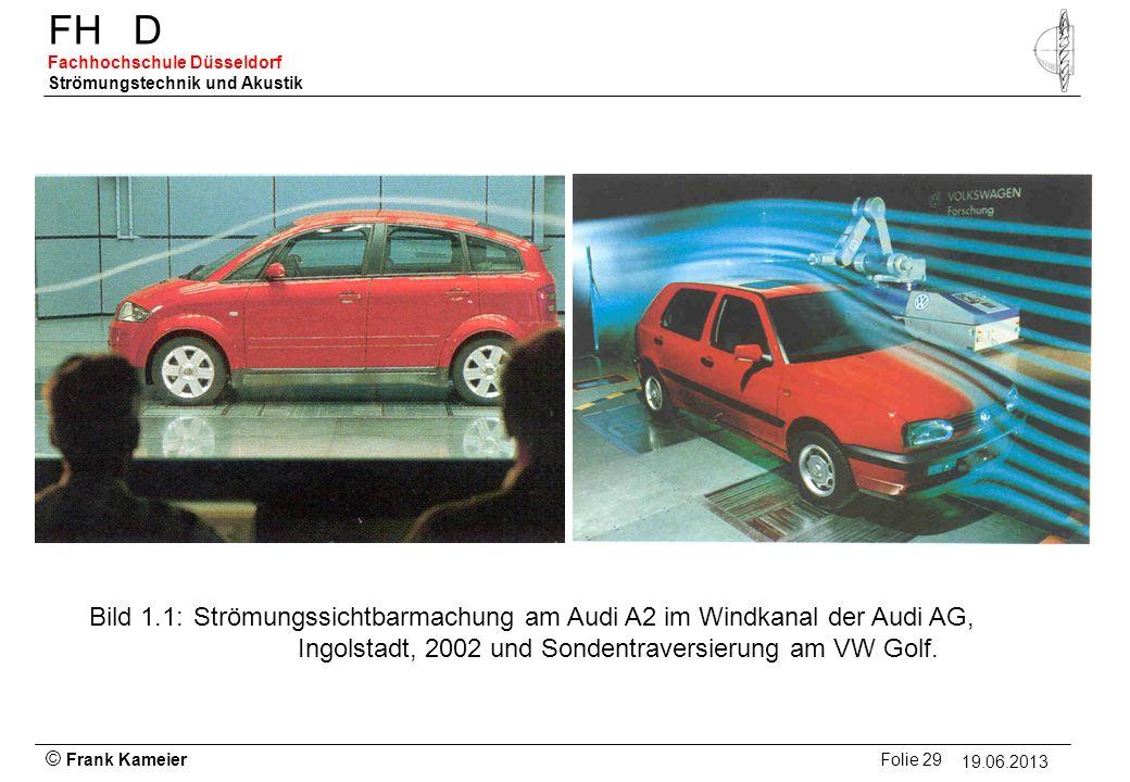 © Frank Kameier Folie 29 - 19.03.2010 FHD Fachhochschule Düsseldorf Strömungstechnik und Akustik 19.06.2013 Bild 1.1: Strömungssichtbarmachung am Audi