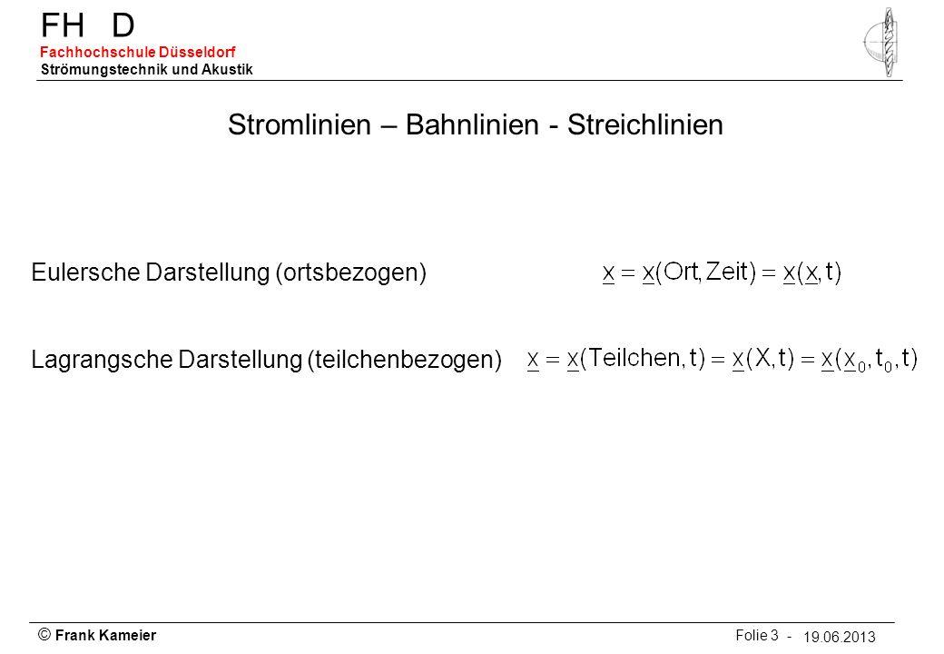 © Frank Kameier Folie 3 - 19.03.2010 FHD Fachhochschule Düsseldorf Strömungstechnik und Akustik 19.06.2013 Stromlinien – Bahnlinien - Streichlinien Eu