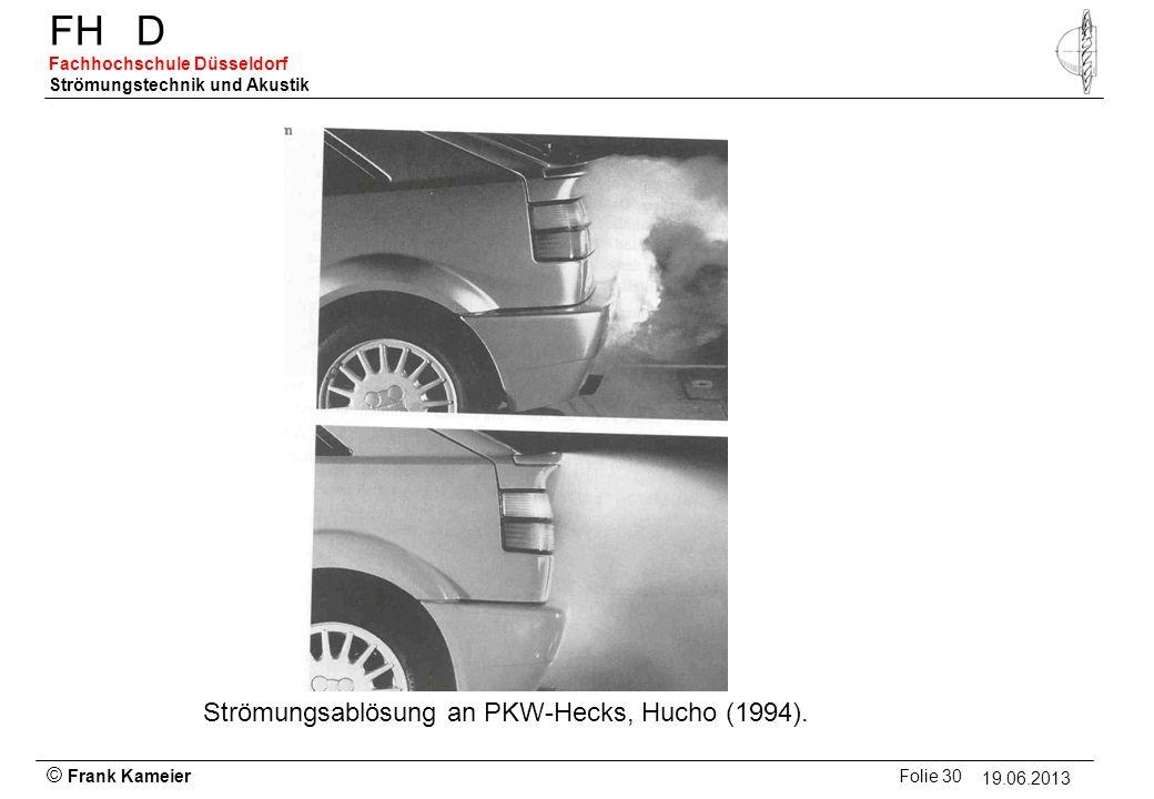 © Frank Kameier Folie 30 - 19.03.2010 FHD Fachhochschule Düsseldorf Strömungstechnik und Akustik 19.06.2013 Strömungsablösung an PKW-Hecks, Hucho (199