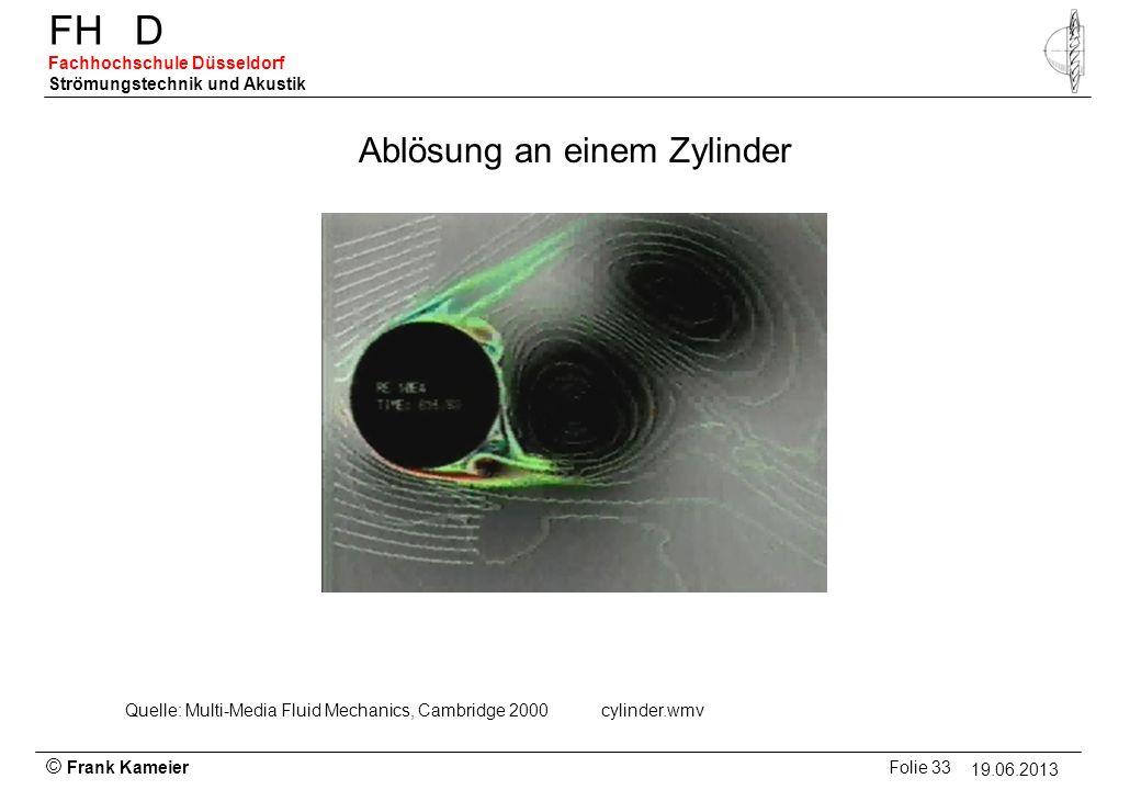 © Frank Kameier Folie 33 - 19.03.2010 FHD Fachhochschule Düsseldorf Strömungstechnik und Akustik 19.06.2013 Ablösung an einem Zylinder Quelle: Multi-M