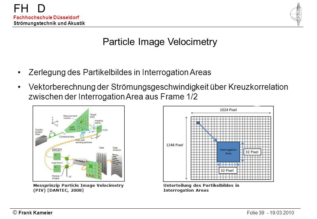 © Frank Kameier Folie 39 - 19.03.2010 FHD Fachhochschule Düsseldorf Strömungstechnik und Akustik Unterteilung des Partikelbildes in Interrogation Area