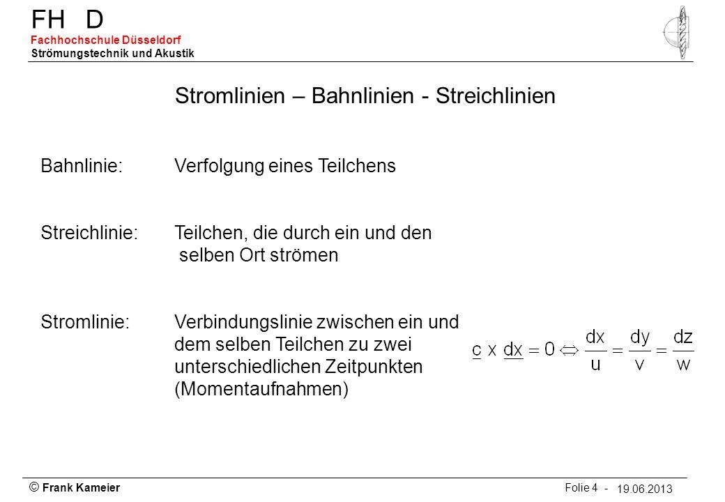 © Frank Kameier Folie 4 - 19.03.2010 FHD Fachhochschule Düsseldorf Strömungstechnik und Akustik 19.06.2013 Stromlinien – Bahnlinien - Streichlinien Ba
