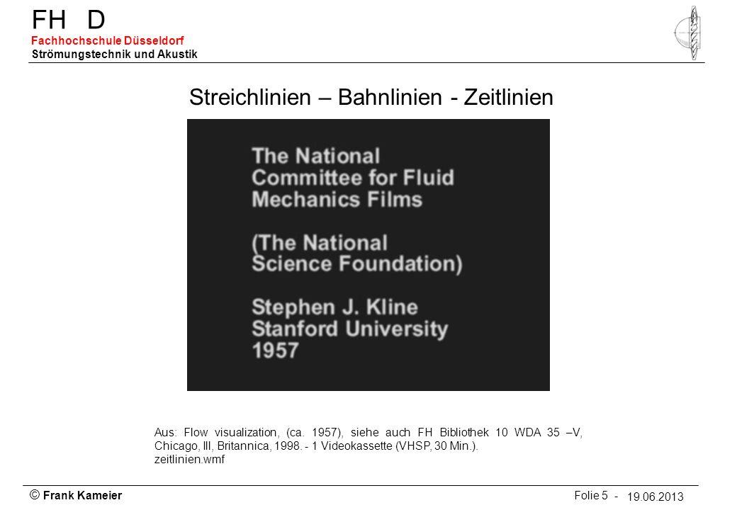 © Frank Kameier Folie 26 - 19.03.2010 FHD Fachhochschule Düsseldorf Strömungstechnik und Akustik 19.06.2013 Farbfadenmethode Aus: Eichmann et.