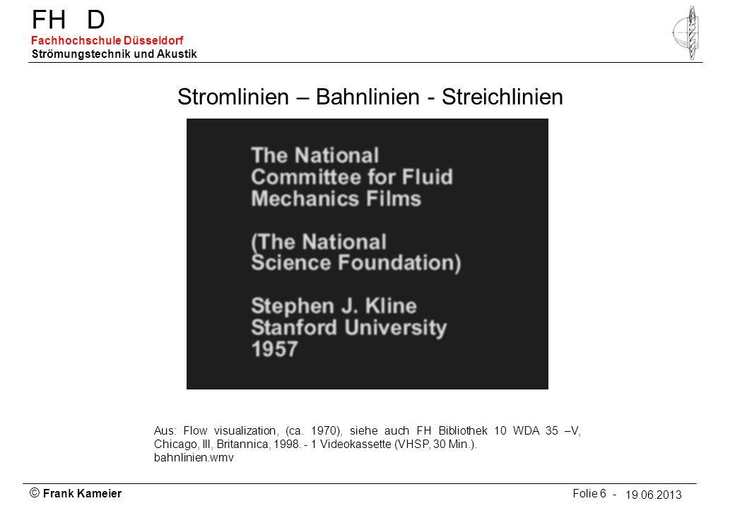 © Frank Kameier Folie 6 - 19.03.2010 FHD Fachhochschule Düsseldorf Strömungstechnik und Akustik 19.06.2013 Stromlinien – Bahnlinien - Streichlinien Au