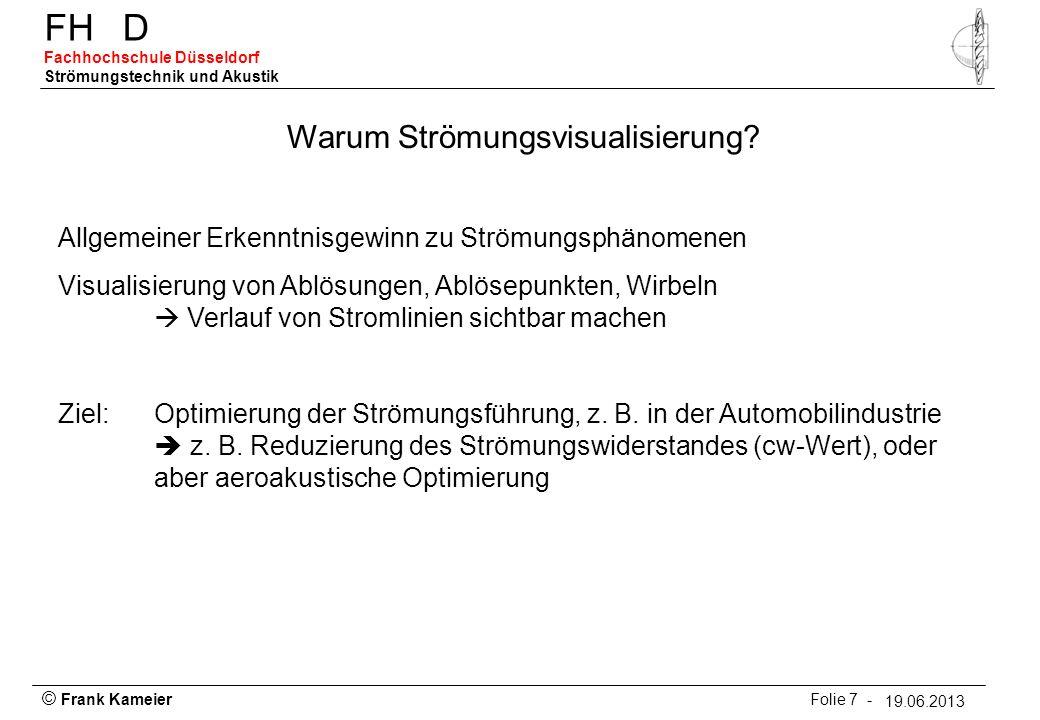 © Frank Kameier Folie 18 - 19.03.2010 FHD Fachhochschule Düsseldorf Strömungstechnik und Akustik 19.06.2013 Sichtbarmachung durch fluoreszierende Wollfäden, aus Nitsche, W., Strömungsmesstechnik, 1993.