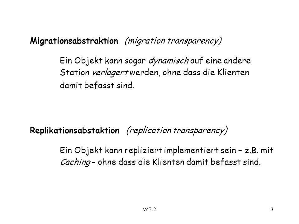 vs7.23 Migrationsabstraktion (migration transparency) Ein Objekt kann sogar dynamisch auf eine andere Station verlagert werden, ohne dass die Klienten damit befasst sind.