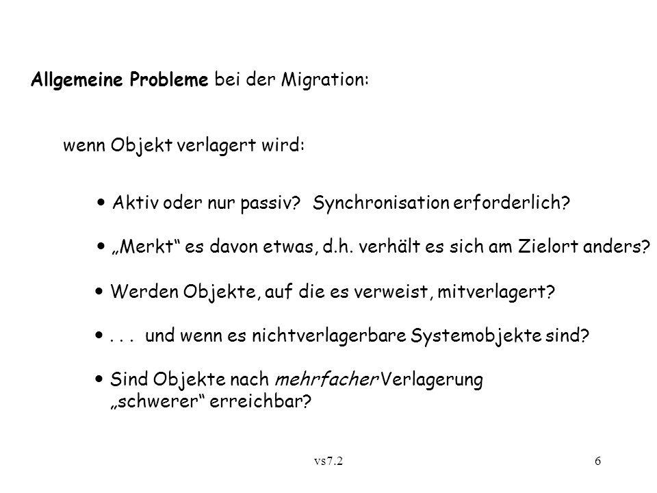 vs7.26 Allgemeine Probleme bei der Migration: wenn Objekt verlagert wird: Aktiv oder nur passiv.