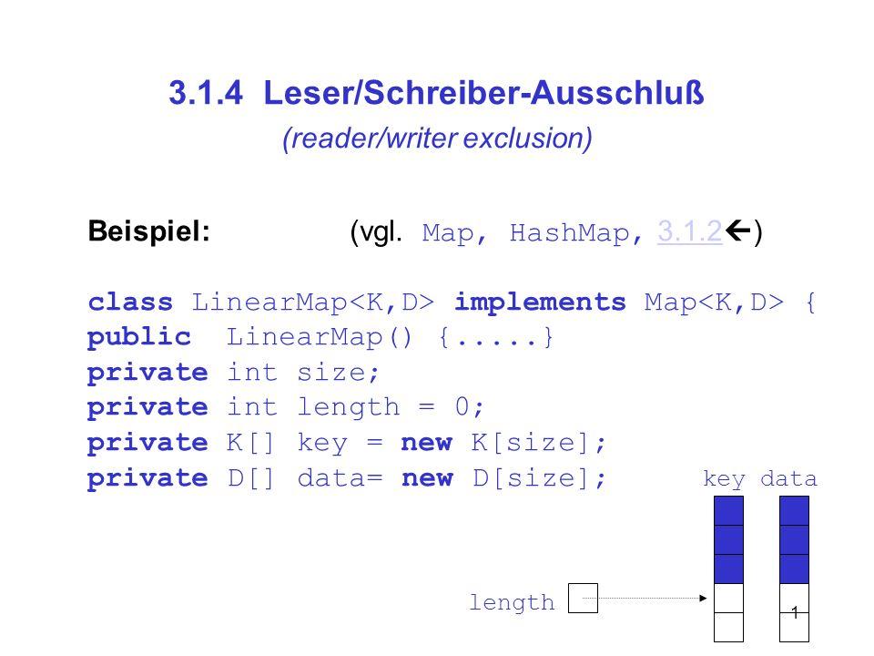 1 3.1.4 Leser/Schreiber-Ausschluß (reader/writer exclusion) Beispiel: (vgl. Map, HashMap, 3.1.2 )3.1.2 class LinearMap implements Map { public LinearM
