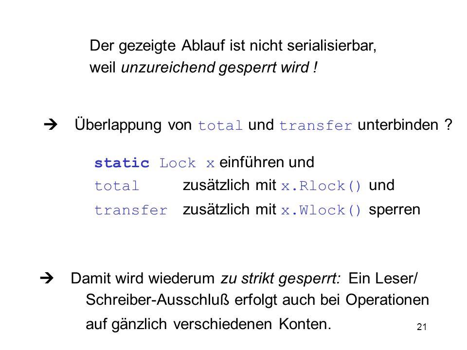 21 Der gezeigte Ablauf ist nicht serialisierbar, weil unzureichend gesperrt wird ! Überlappung von total und transfer unterbinden ? static Lock x einf