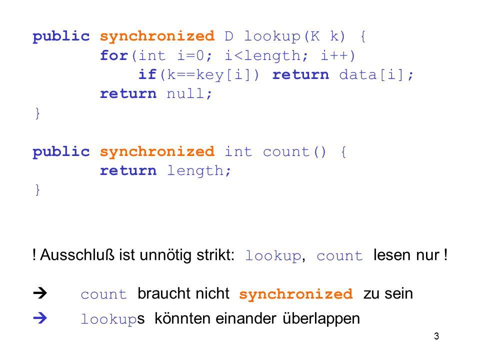 3 public synchronized D lookup(K k) { for(int i=0; i<length; i++) if(k==key[i]) return data[i]; return null; } public synchronized int count() { retur