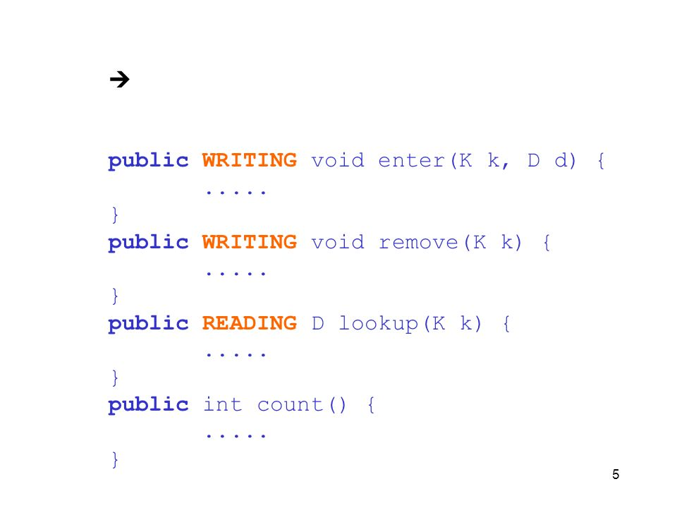 5 public WRITING void enter(K k, D d) {..... } public WRITING void remove(K k) {..... } public READING D lookup(K k) {..... } public int count() {....