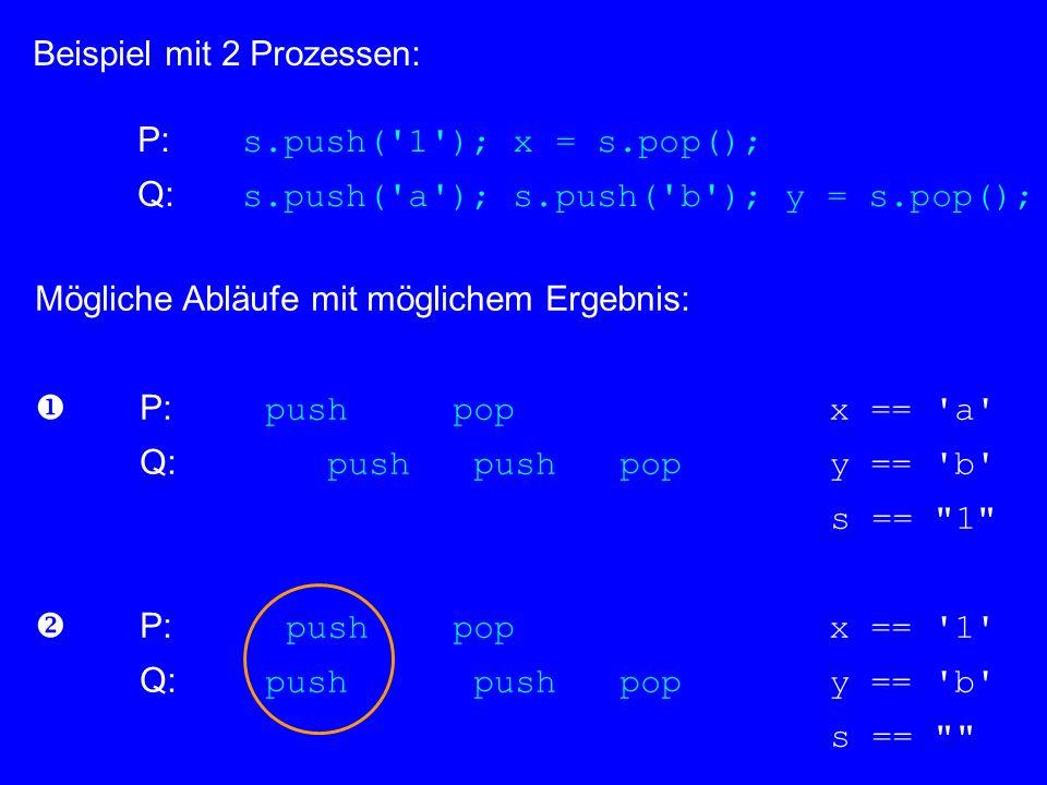 Beispiel mit 2 Prozessen: P: s.push('1'); x = s.pop(); Q: s.push('a'); s.push('b'); y = s.pop(); Mögliche Abläufe mit möglichem Ergebnis: P: push pop