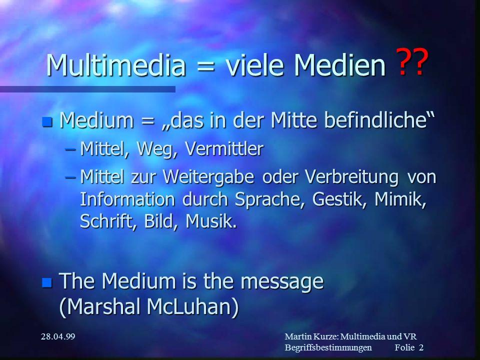Multimedia und Virtual Reality Vorlesung am 28.04.1999 Martin Kurze (kurze@acm.org) Begriffsbestimmungen