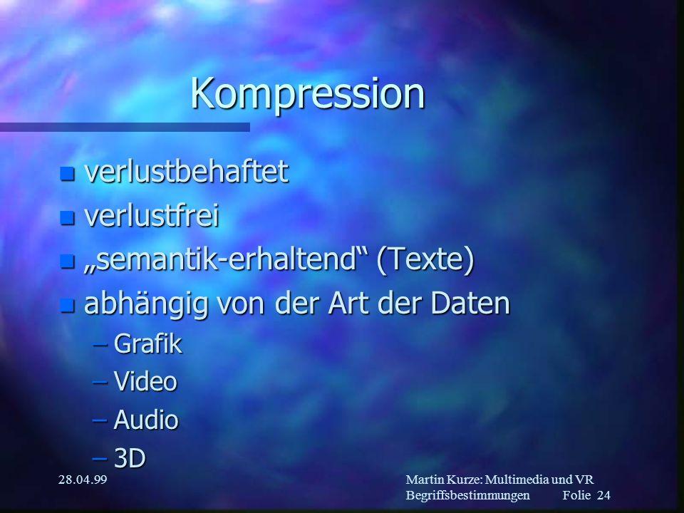 Martin Kurze: Multimedia und VR Begriffsbestimmungen Folie 23 28.04.99 Back-Office n MM-Datenbanken n Redaktions-Tools n Keine Zeit!