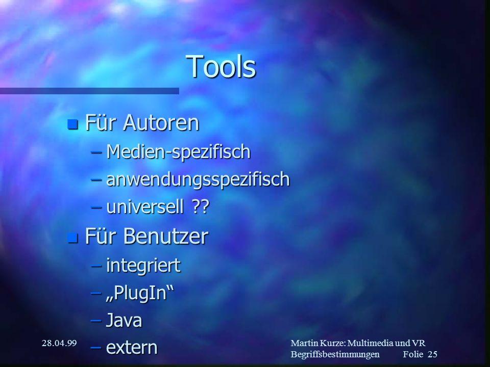 Martin Kurze: Multimedia und VR Begriffsbestimmungen Folie 24 28.04.99 Kompression n verlustbehaftet n verlustfrei n semantik-erhaltend (Texte) n abhängig von der Art der Daten –Grafik –Video –Audio –3D