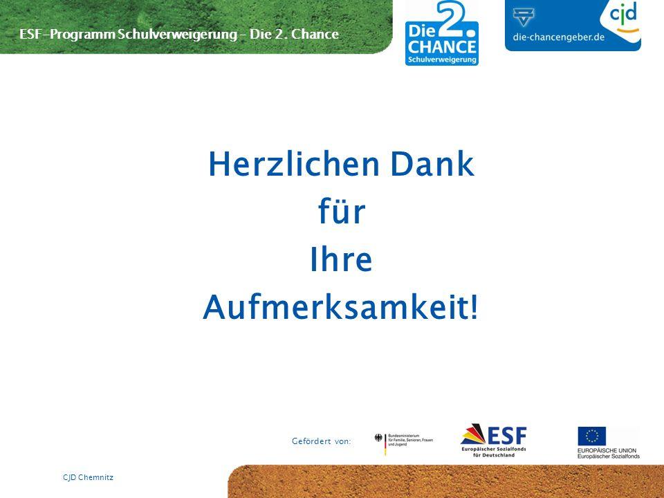 ESF-Programm Schulverweigerung – Die 2. Chance Gefördert von: Herzlichen Dank für Ihre Aufmerksamkeit! CJD Chemnitz