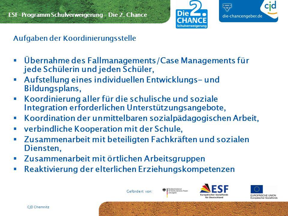 ESF-Programm Schulverweigerung – Die 2. Chance Gefördert von: CJD Chemnitz Übernahme des Fallmanagements/Case Managements für jede Schülerin und jeden