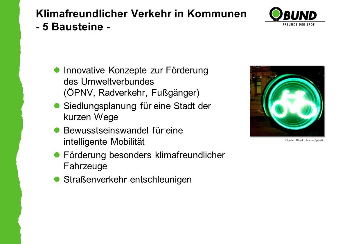 Klimafreundlicher Verkehr in Kommunen - 5 Bausteine - Innovative Konzepte zur Förderung des Umweltverbundes (ÖPNV, Radverkehr, Fußgänger) Siedlungspla