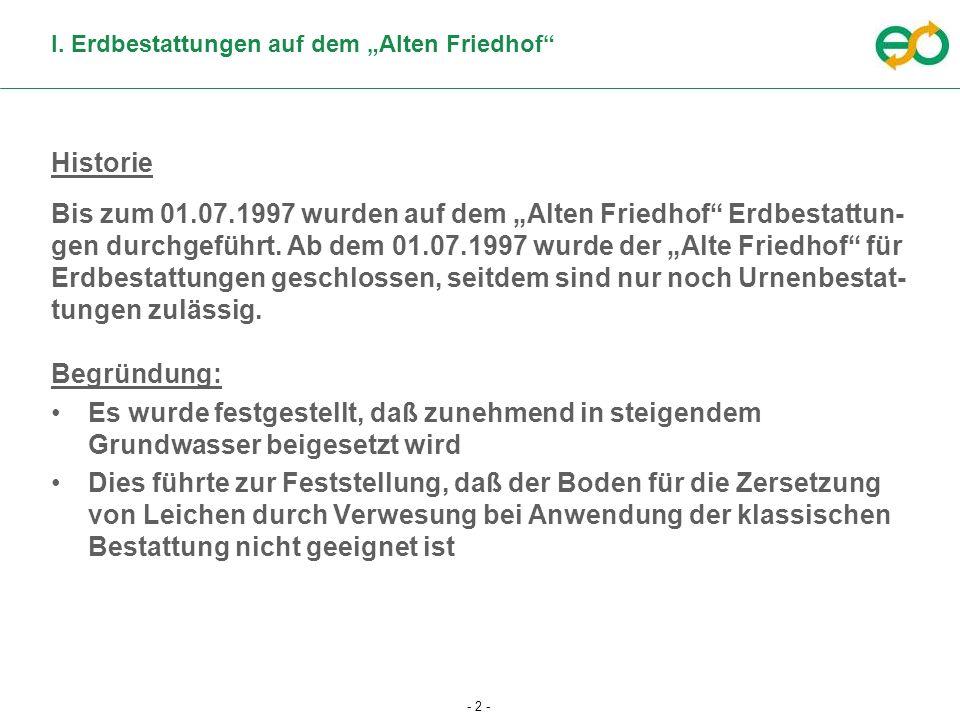 - 2 - I. Erdbestattungen auf dem Alten Friedhof Historie Bis zum 01.07.1997 wurden auf dem Alten Friedhof Erdbestattun- gen durchgeführt. Ab dem 01.07