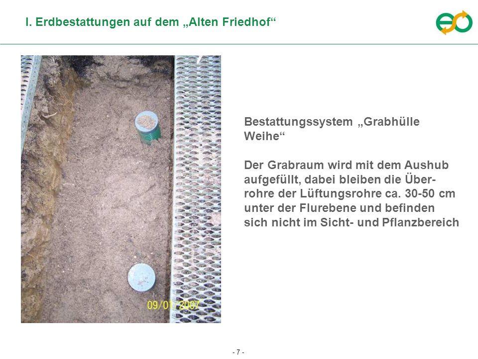 - 7 - I. Erdbestattungen auf dem Alten Friedhof Bestattungssystem Grabhülle Weihe Der Grabraum wird mit dem Aushub aufgefüllt, dabei bleiben die Über-