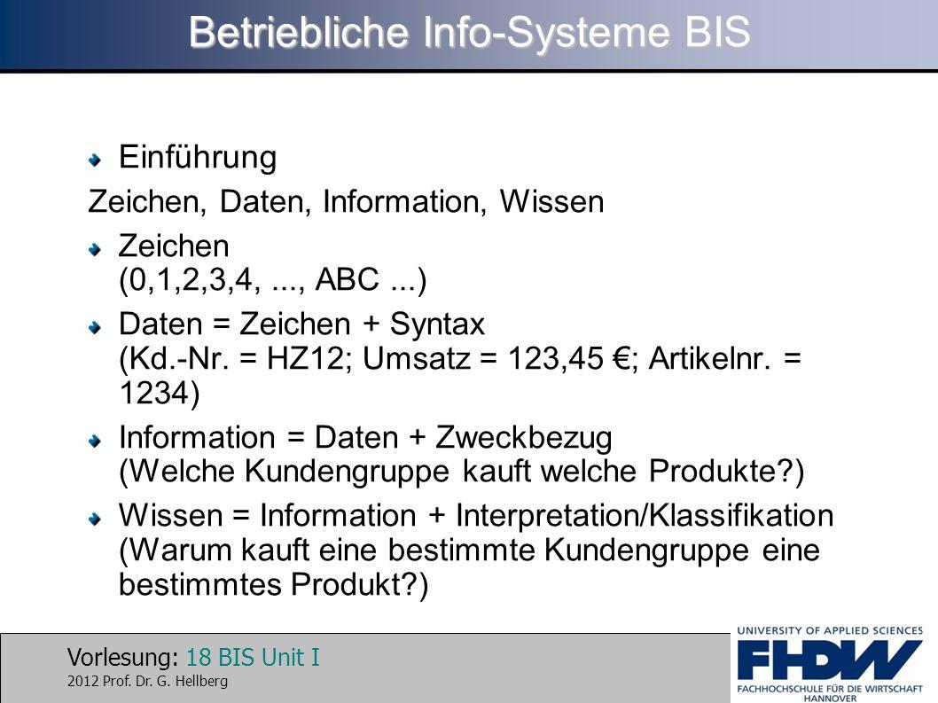 Vorlesung: 18 BIS Unit I 2012 Prof. Dr. G. Hellberg Betriebliche Info-Systeme BIS Einführung Zeichen, Daten, Information, Wissen Zeichen (0,1,2,3,4,..