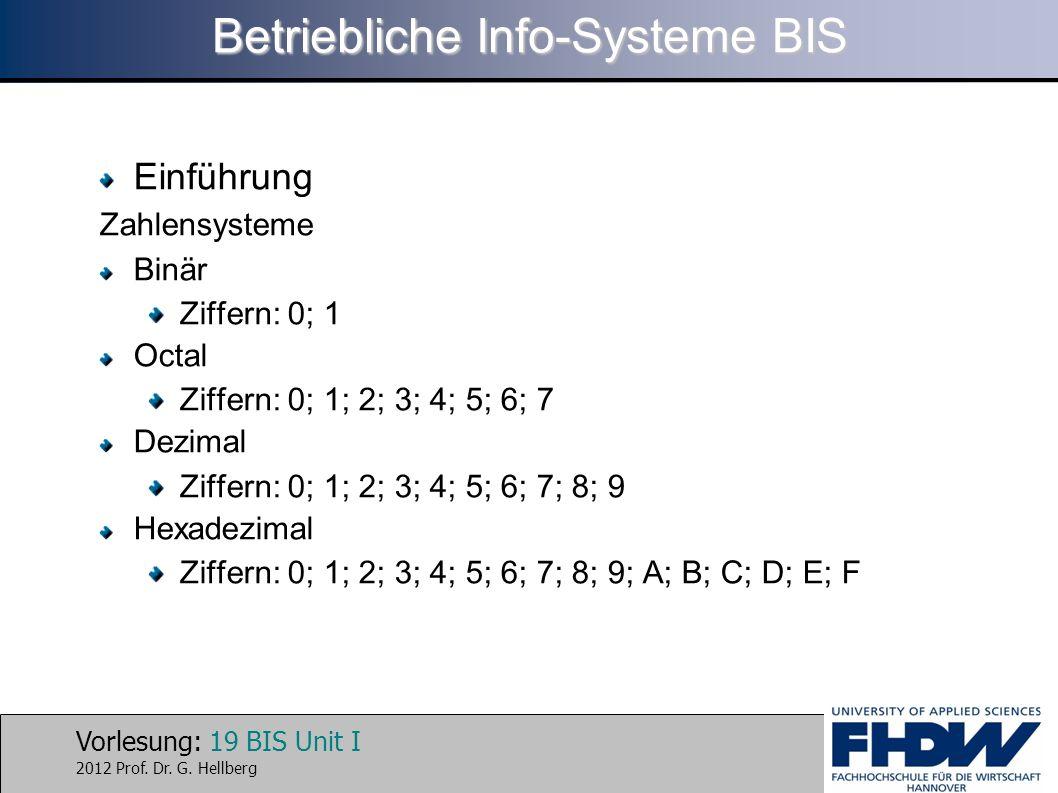 Vorlesung: 19 BIS Unit I 2012 Prof. Dr. G. Hellberg Betriebliche Info-Systeme BIS Einführung Zahlensysteme Binär Ziffern: 0; 1 Octal Ziffern: 0; 1; 2;