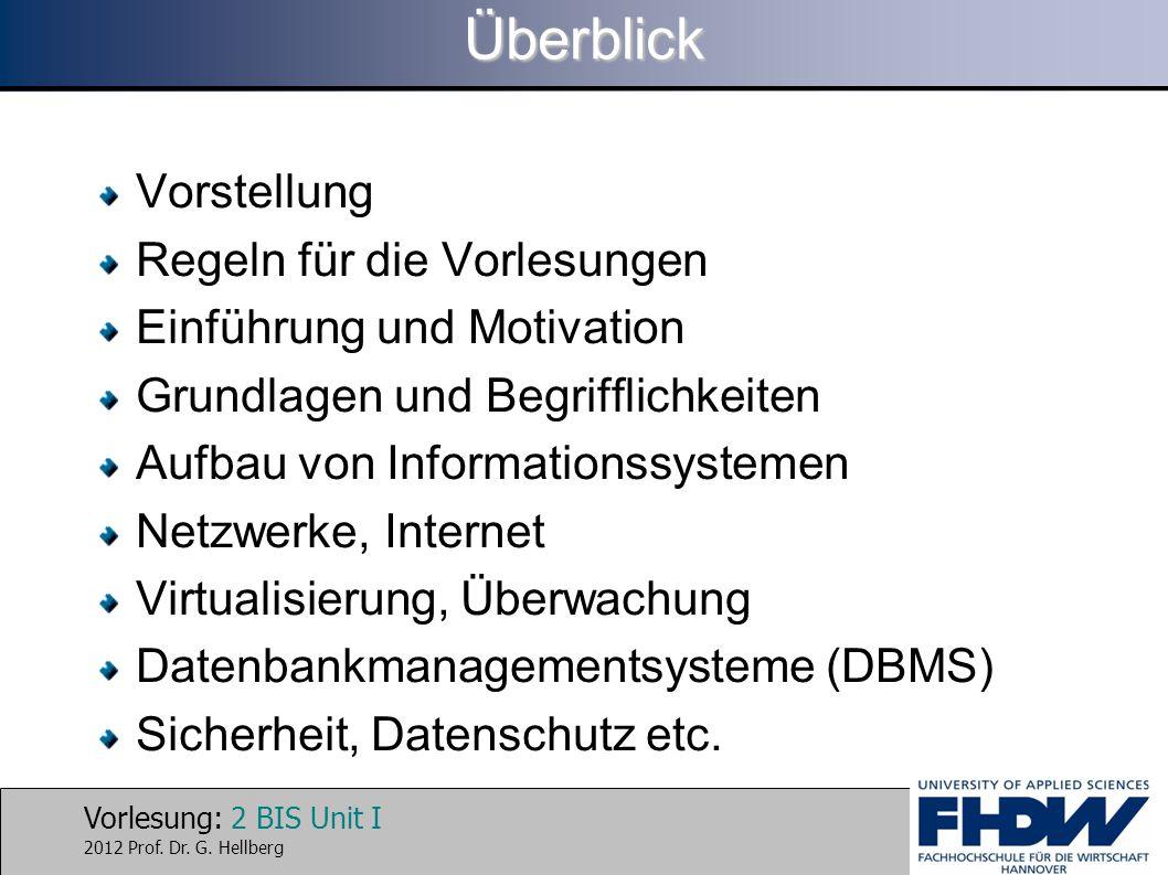 Vorlesung: 2 BIS Unit I 2012 Prof. Dr. G. HellbergÜberblick Vorstellung Regeln für die Vorlesungen Einführung und Motivation Grundlagen und Begrifflic