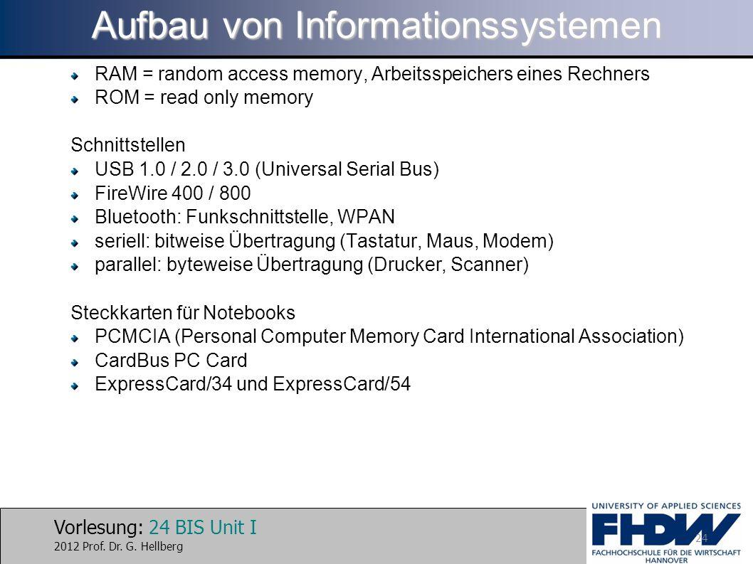 Vorlesung: 24 BIS Unit I 2012 Prof. Dr. G. Hellberg Aufbau von Informationssystemen RAM = random access memory, Arbeitsspeichers eines Rechners ROM =