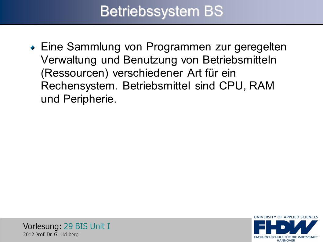 Vorlesung: 29 BIS Unit I 2012 Prof. Dr. G. Hellberg Betriebssystem BS Eine Sammlung von Programmen zur geregelten Verwaltung und Benutzung von Betrieb